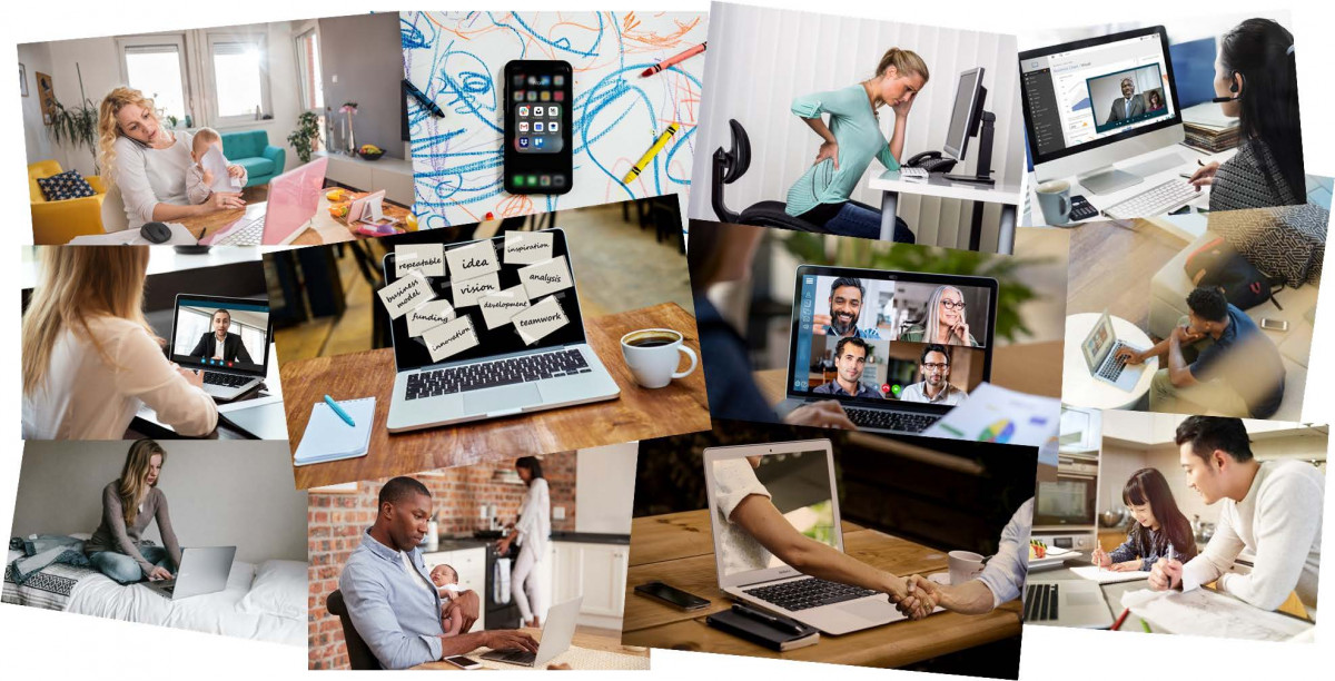 Working from home collage